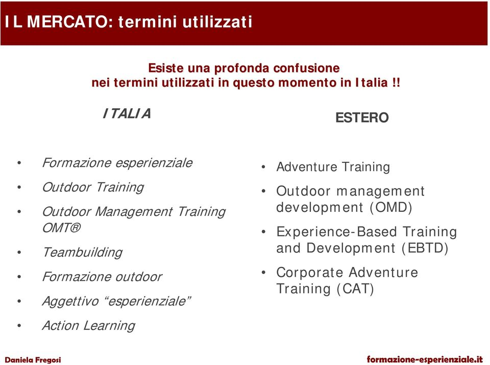 ! ITALIA ESTERO Formazione esperienziale Outdoor Training Outdoor Management Training OMT Teambuilding