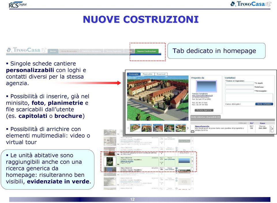 capitolati o brochure) Possibilità di arrichire con elementi multimediali: video o virtual tour Le unità abitative