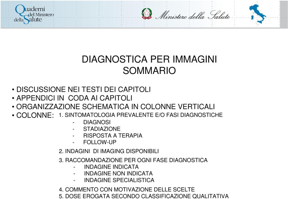 SINTOMATOLOGIA PREVALENTE E/O FASI DIAGNOSTICHE - DIAGNOSI - STADIAZIONE - RISPOSTA A TERAPIA - FOLLOW-UP 2.