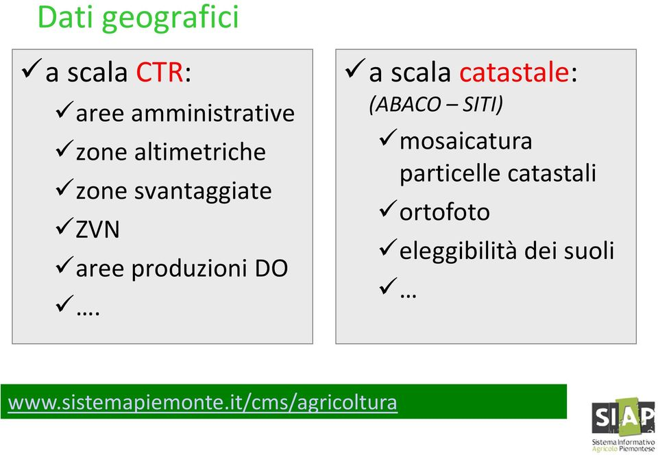a scala catastale: (ABACO SITI) mosaicatura particelle