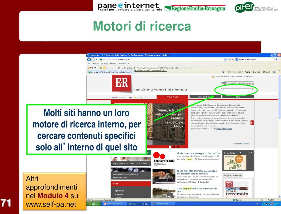 contenuti specifici solo all interno di quel