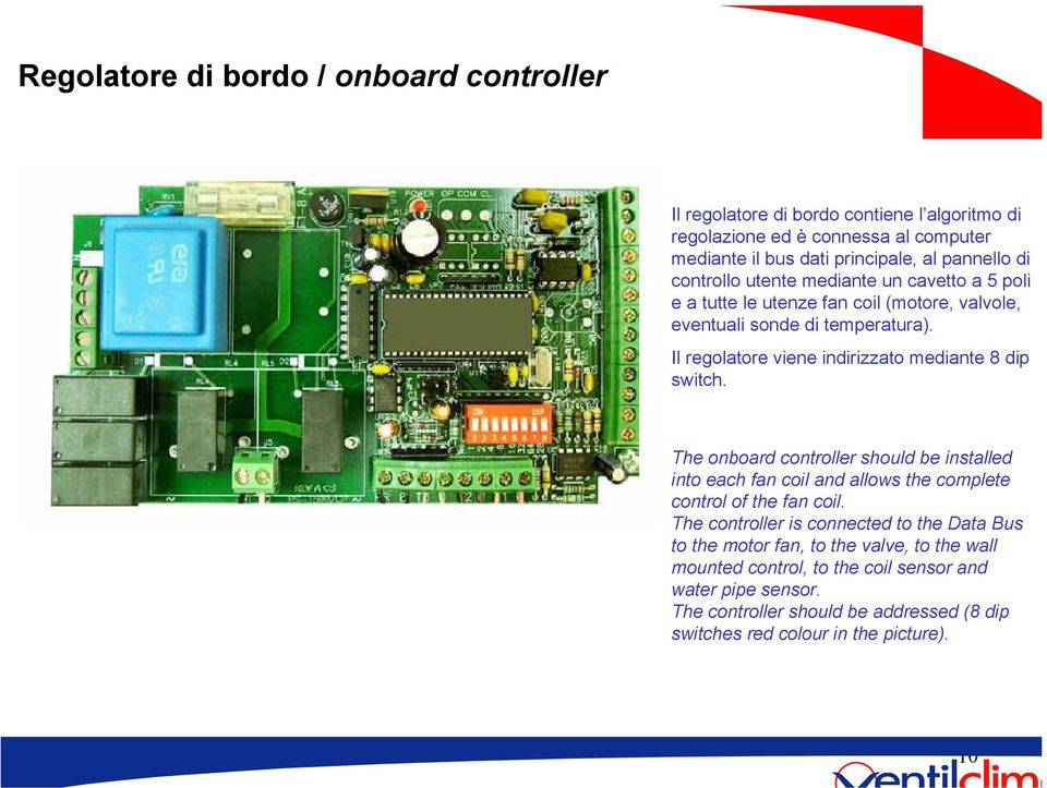 Pannello di controllo The onboard controller should be installed into each fan coil and allows the complete control of the fan coil.