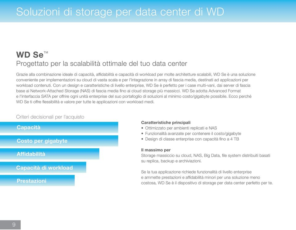 Con un design e caratteristiche di livello enterprise, WD Se è perfetto per i case multi-vani, dai server di fascia base ai Network-Attached Storage (NAS) di fascia media fino ai cloud storage più