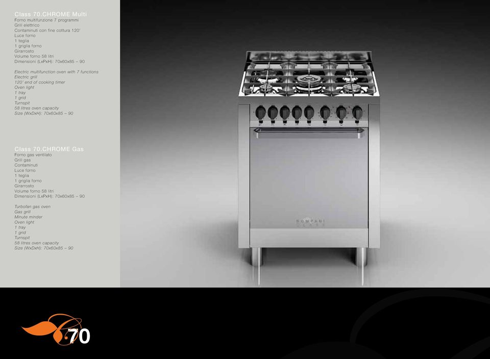 Dimensioni (LxPxH): 70x60x85 90 Electric multifunction oven with 7 functions Electric grill 120 end of cooking timer Oven light 1 tray 1 grid Turnspit 58 litres oven
