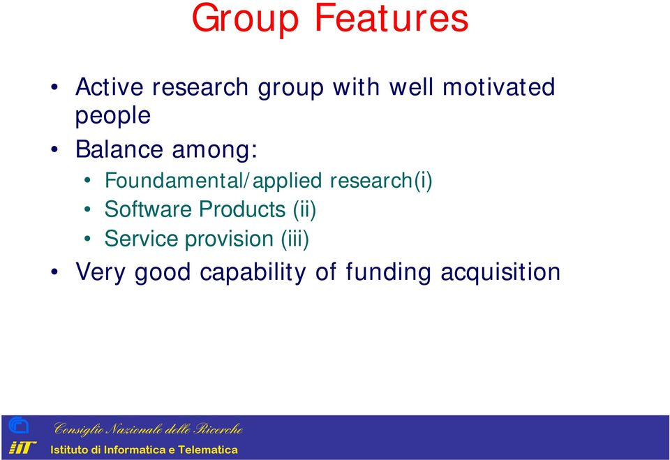 Foundamental/applied research(i) Software Products