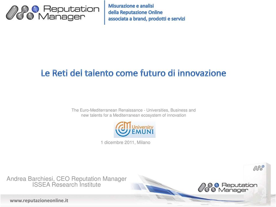 ecosystem of innovation 1 dicembre 2011, Milano