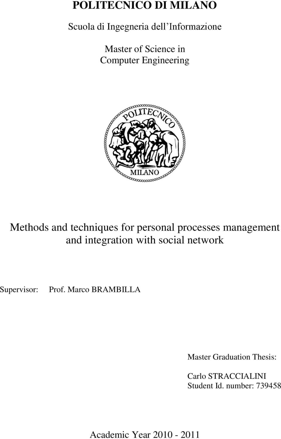 integration with social network Supervisor: Prof.