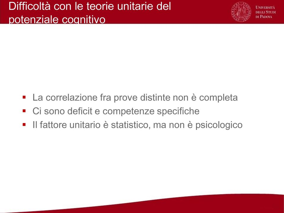 completa Ci sono deficit e competenze specifiche