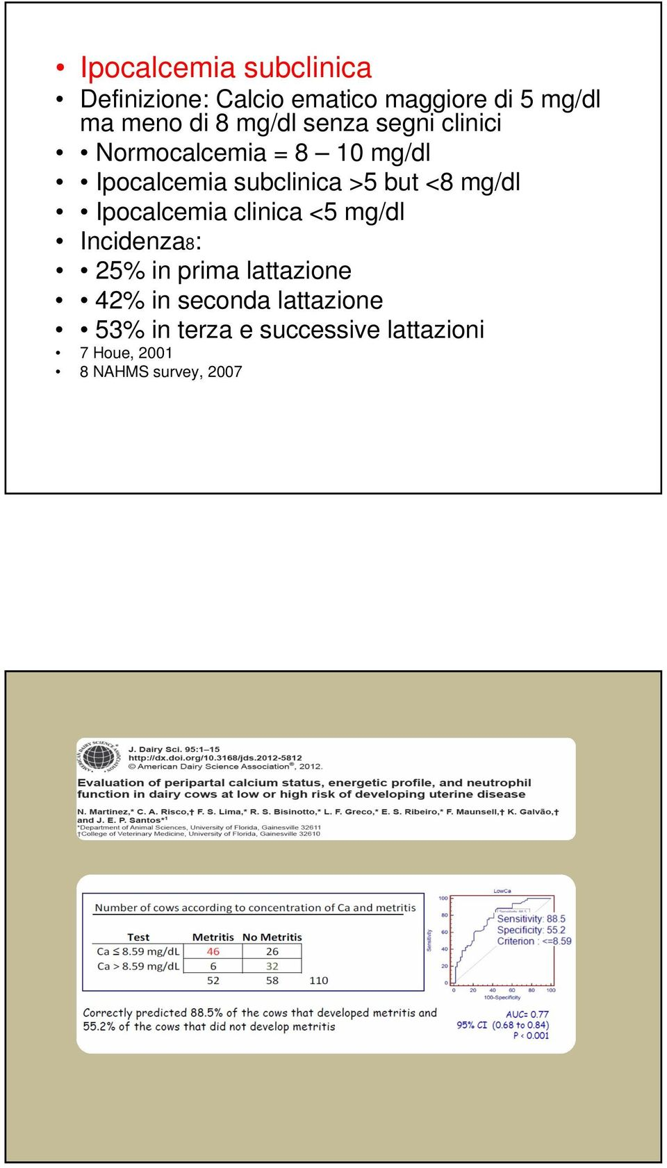 <8 mg/dl Ipocalcemia clinica <5 mg/dl Incidenza8: 25% in prima lattazione 42% in