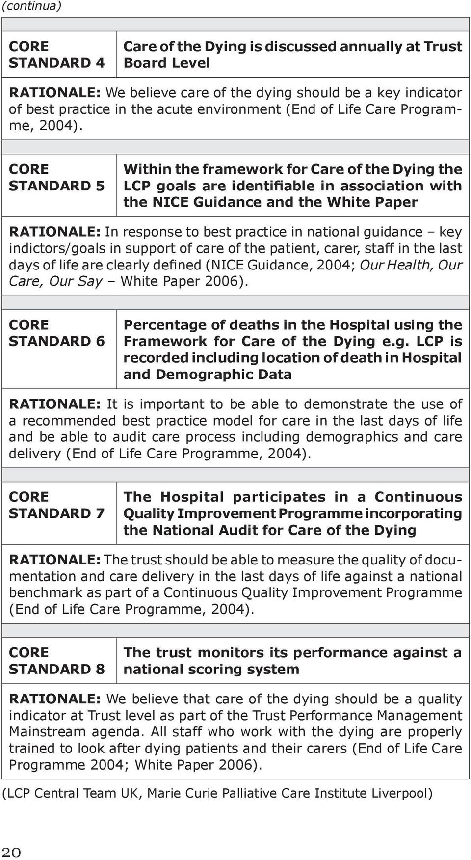 CORE STANDARD 5 Within the framework for Care of the Dying the LCP goals are identifiable in association with the NICE Guidance and the White Paper RATIONALE: In response to best practice in national