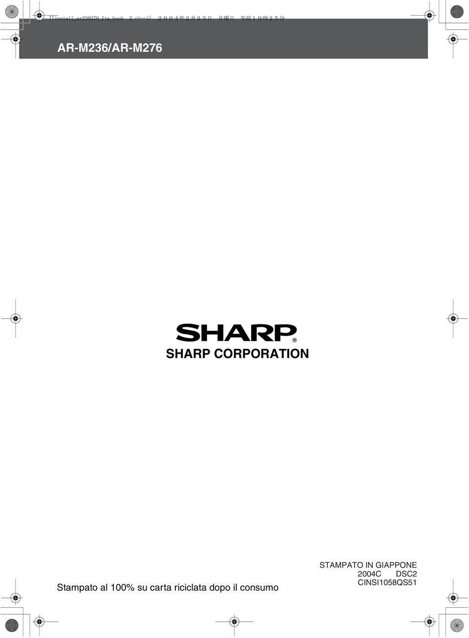 AR-M6/AR-M76 SHARP CORPORATION Stampato al