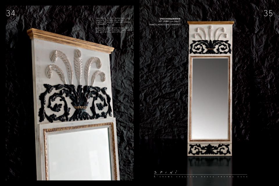 Gustavian style mirror frame, here in a special finish, mixing black,