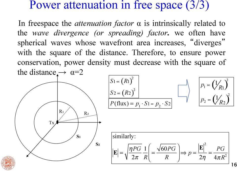 Therefore, to ensure power conservation, power density must decrease with the square of the distance α=2 2 S1 ( R1) S ( R ) 2 2