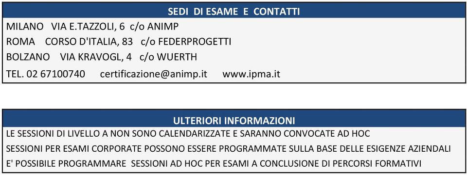 02 67100740 certificazione@animp.it www.ipma.