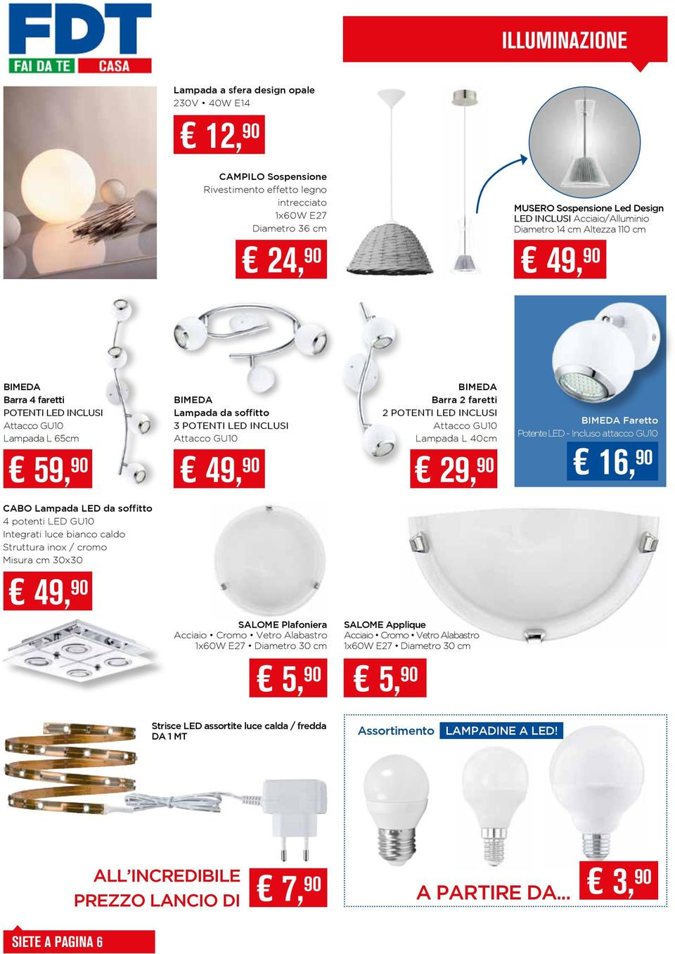 BIMEDA Barra 2 faretti 2 POTENTI LED INCLUSI Attacco GU10 Lampada L 40cm BIMEDA Faretto Potente LED - Incluso attacco GU10 59, 90 49, 90 29, 90 16, 90 CABO Lampada LED da soffitto 4 potenti LED GU10