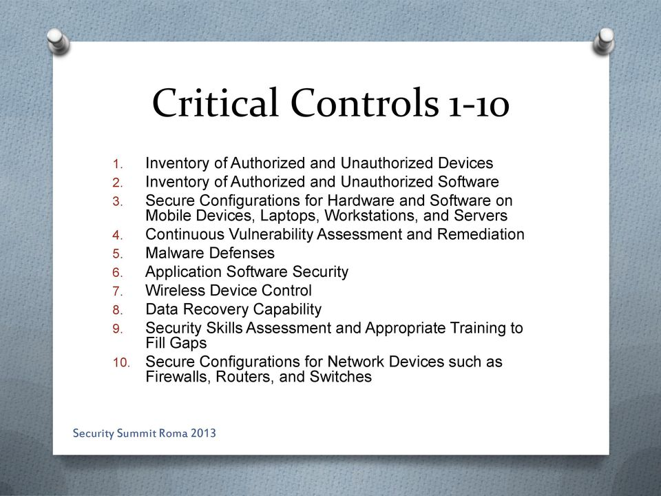 Continuous Vulnerability Assessment and Remediation 5. Malware Defenses 6. Application Software Security 7. Wireless Device Control 8.