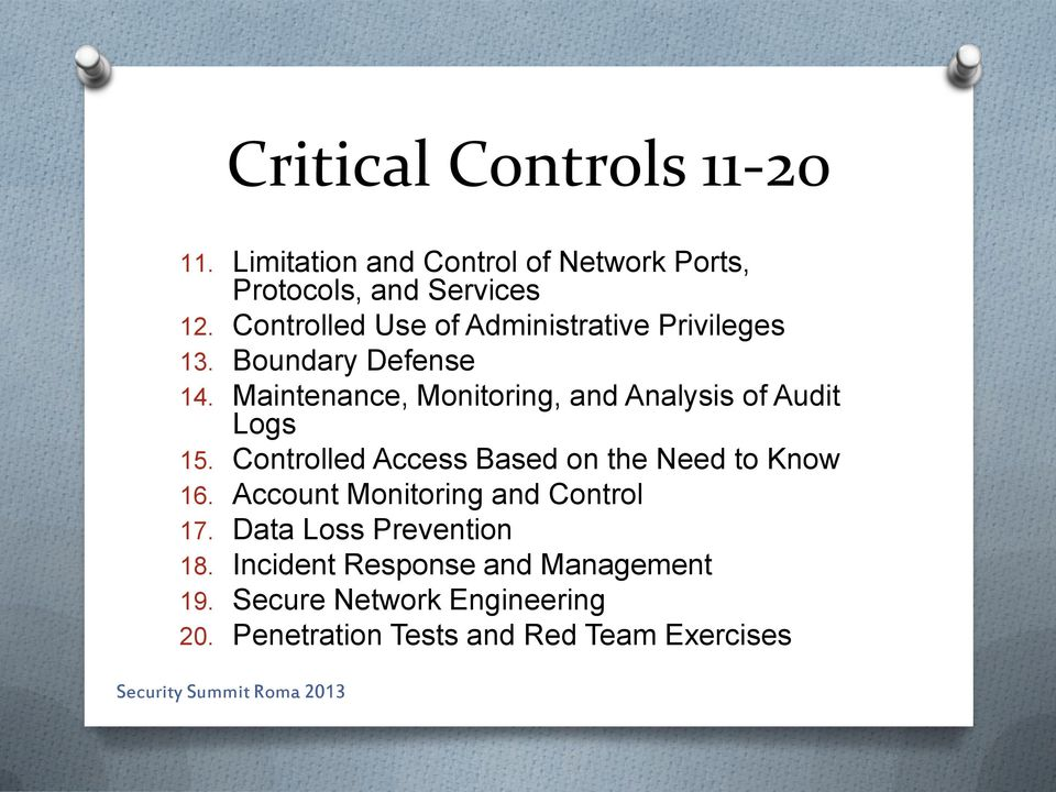 Maintenance, Monitoring, and Analysis of Audit Logs 15. Controlled Access Based on the Need to Know 16.