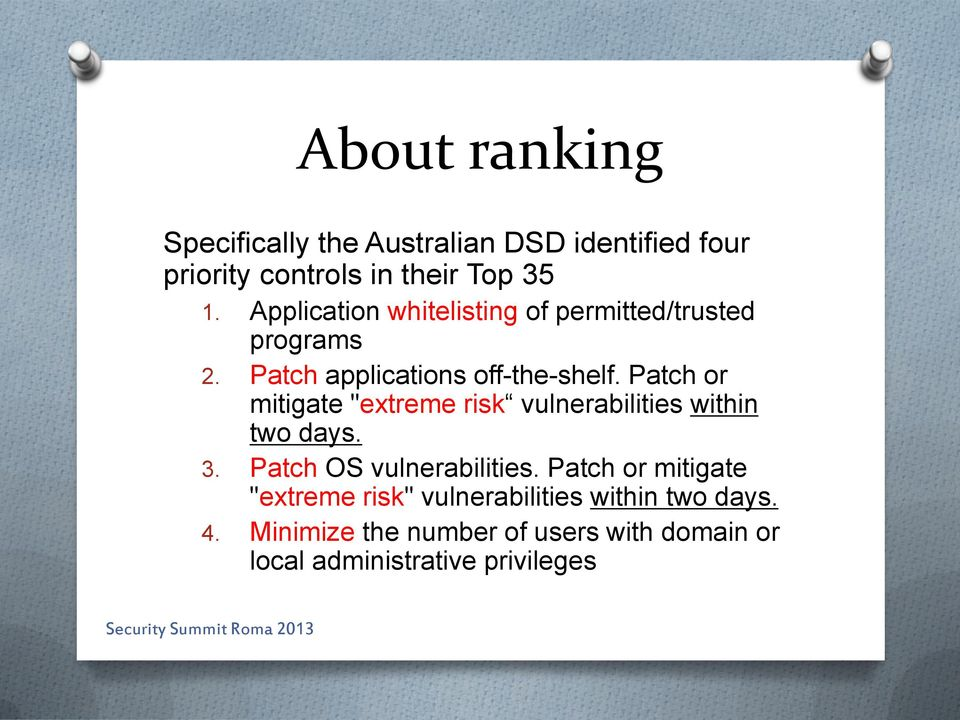"Patch or mitigate ""extreme risk vulnerabilities within two days. 3. Patch OS vulnerabilities."
