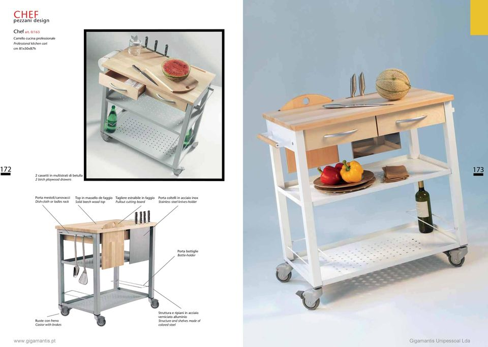 playwood drawers Porta mestoli/canovacci Dish-cloth or ladles rack Top in massello de faggio Solid beech wood top Tagliere