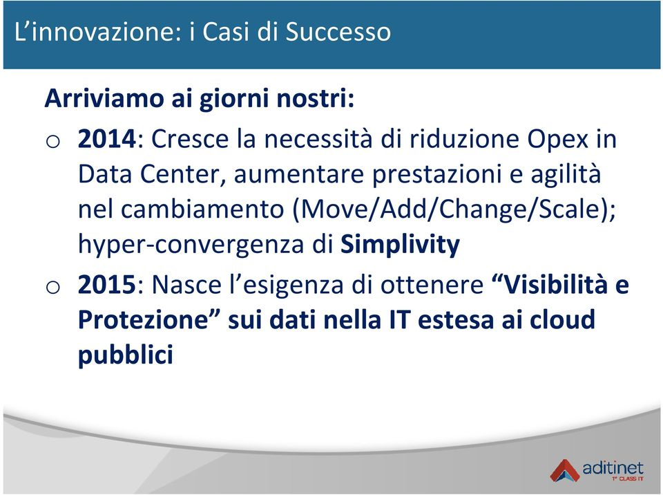 cambiamento (Move/Add/Change/Scale); hyper convergenza di Simplivity o 2015: Nasce