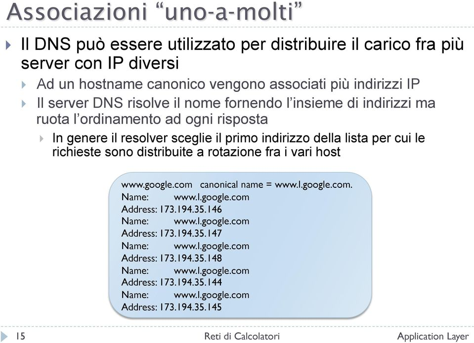 richieste sono distribuite a rotazione fra i vari host www.google.com canonical name = www.l.google.com. Name: www.l.google.com Address: 173.194.35.146 Name: www.l.google.com Address: 173.194.35.147 Name: www.