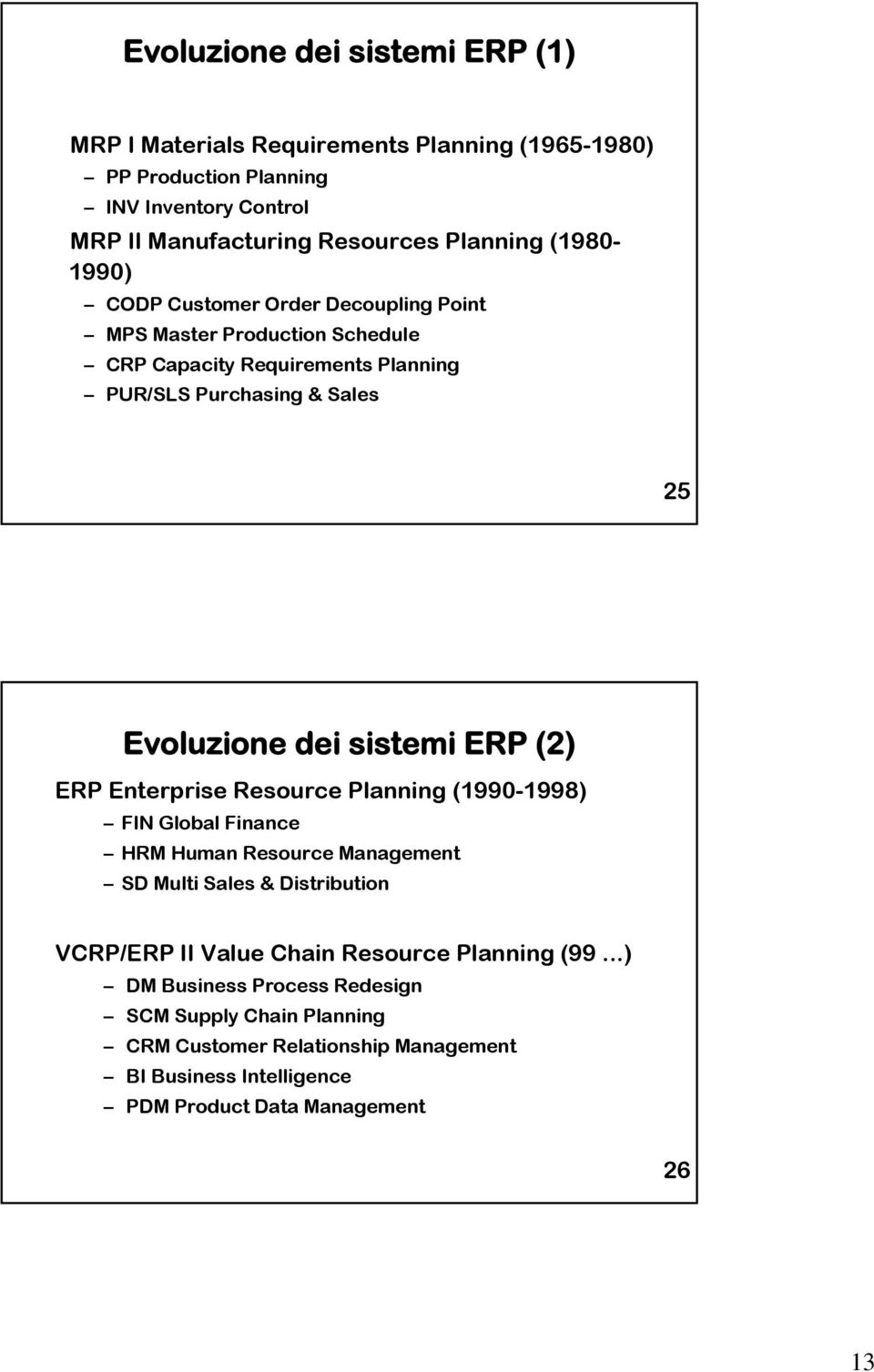 sistemi ERP (2) ERP Enterprise Resource Planning (1990-1998) FIN Global Finance HRM Human Resource Management SD Multi Sales & Distribution VCRP/ERP II Value Chain