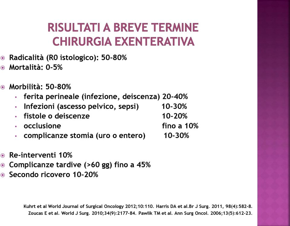 Complicanze tardive (>60 gg) fino a 45% Secondo ricovero 10-20% Kuhrt et al World Journal of Surgical Oncology 2012;10:110.