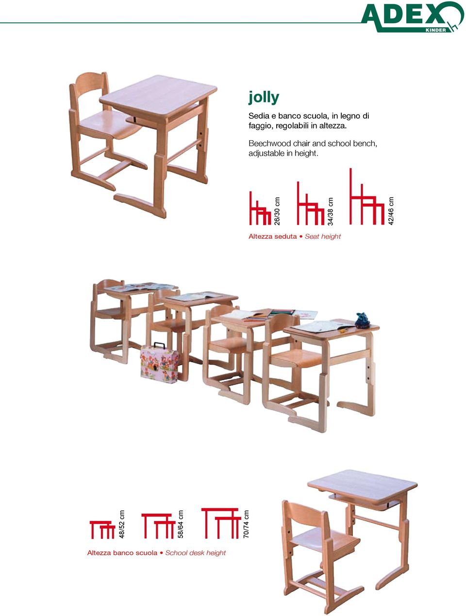 Beechwood chair and school bench, adjustable in