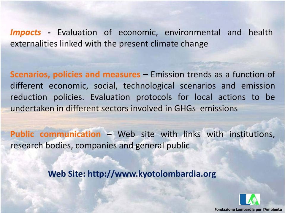 Evaluation protocols for local actions to be undertaken in different sectors involved in GHGs emissions Public communication Web site