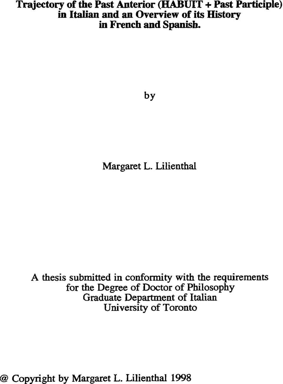 Lilienthal A thesis submitted in conformity with the requirements for the Degree of