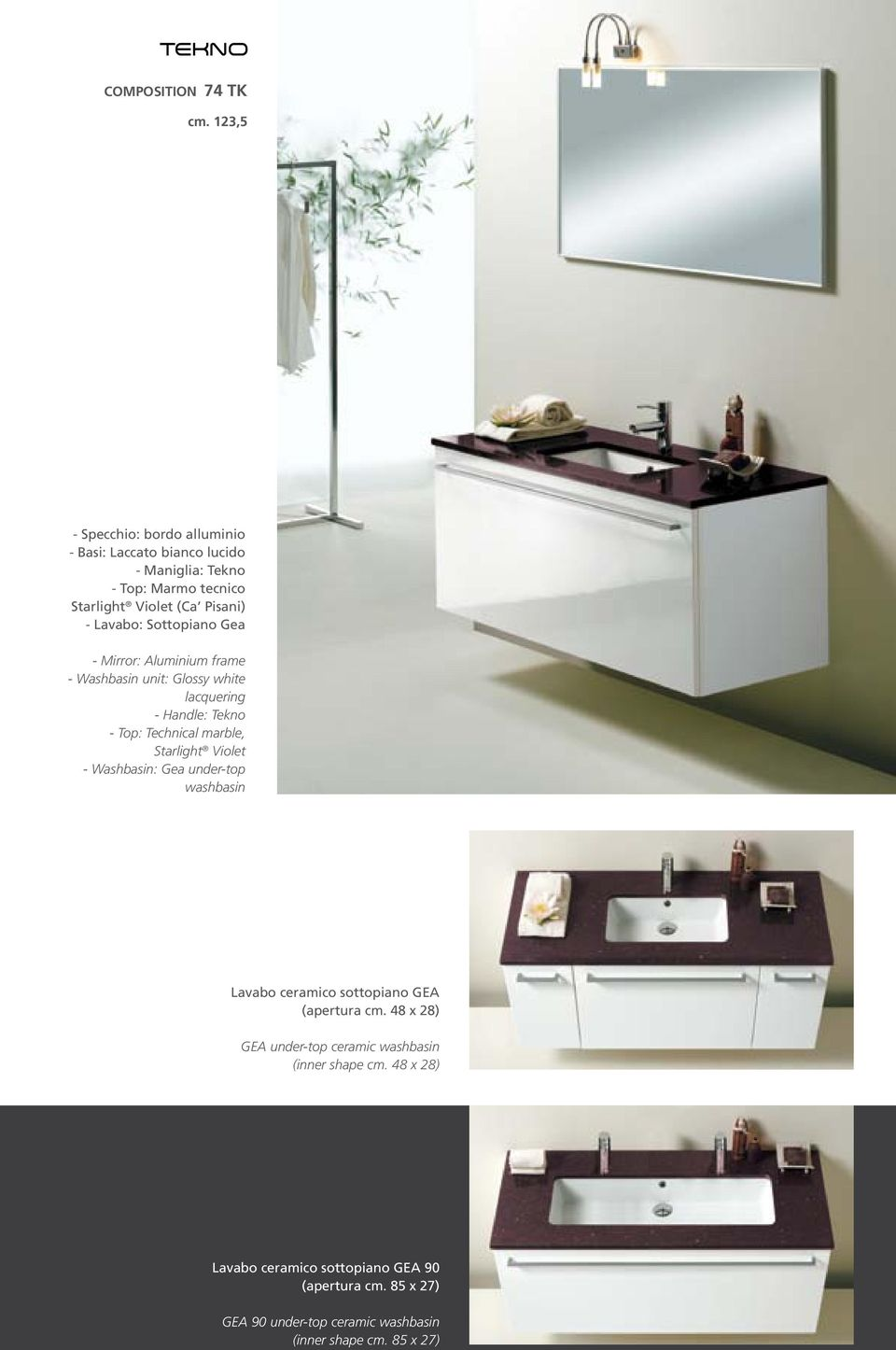 Sottopiano Gea - Mirror: Aluminium frame - Washbasin unit: Glossy white lacquering - Handle: Tekno - Top: Technical marble, Starlight Violet -