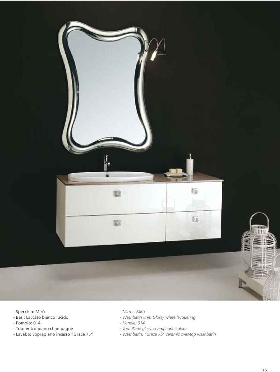 Mirò - Washbasin unit: Glossy white lacquering - Handle: 014 - Top: