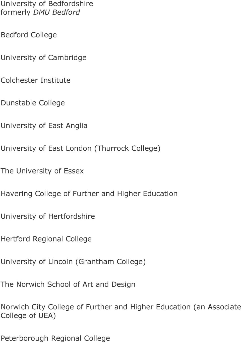 Higher Education University of Hertfordshire Hertford Regional College University of Lincoln (Grantham College) The Norwich