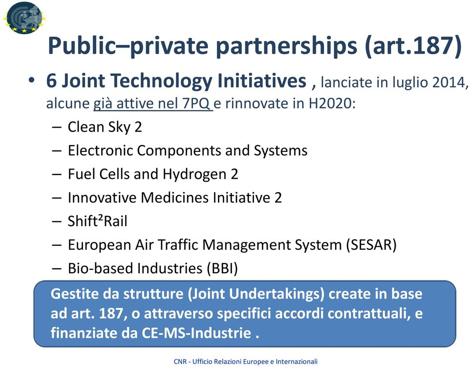 2 Electronic Components and Systems Fuel Cells and Hydrogen 2 Innovative Medicines Initiative 2 Shift²Rail European Air