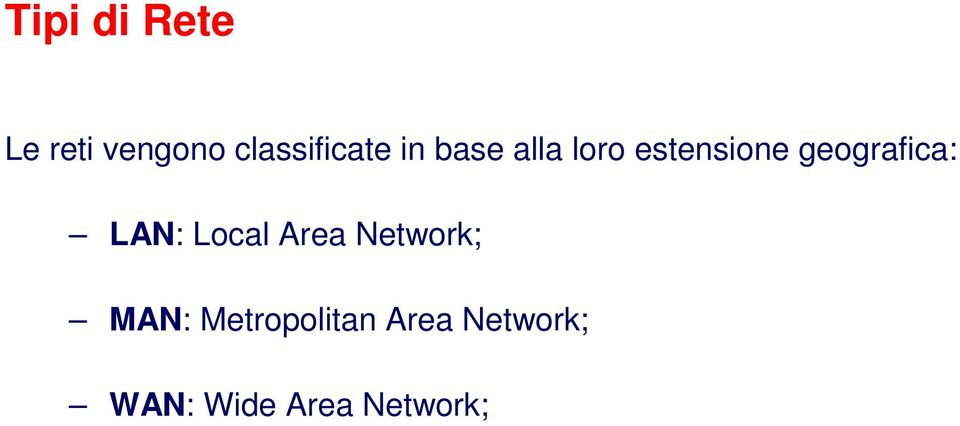 estensione geografica: LAN: Local Area