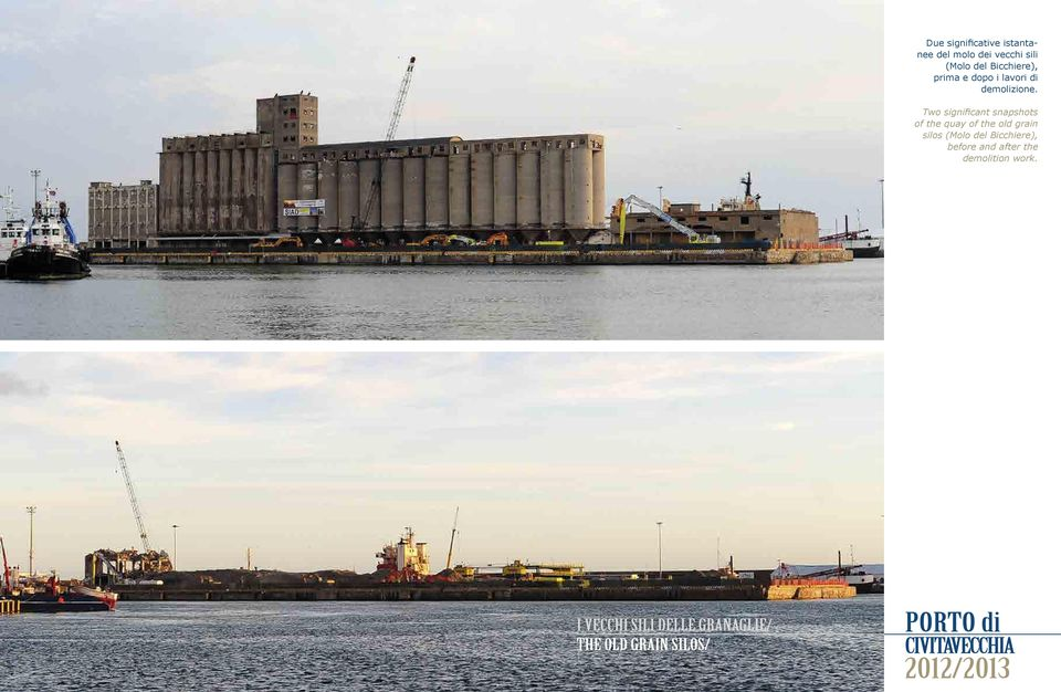 Two significant snapshots of the quay of the old grain silos (Molo del