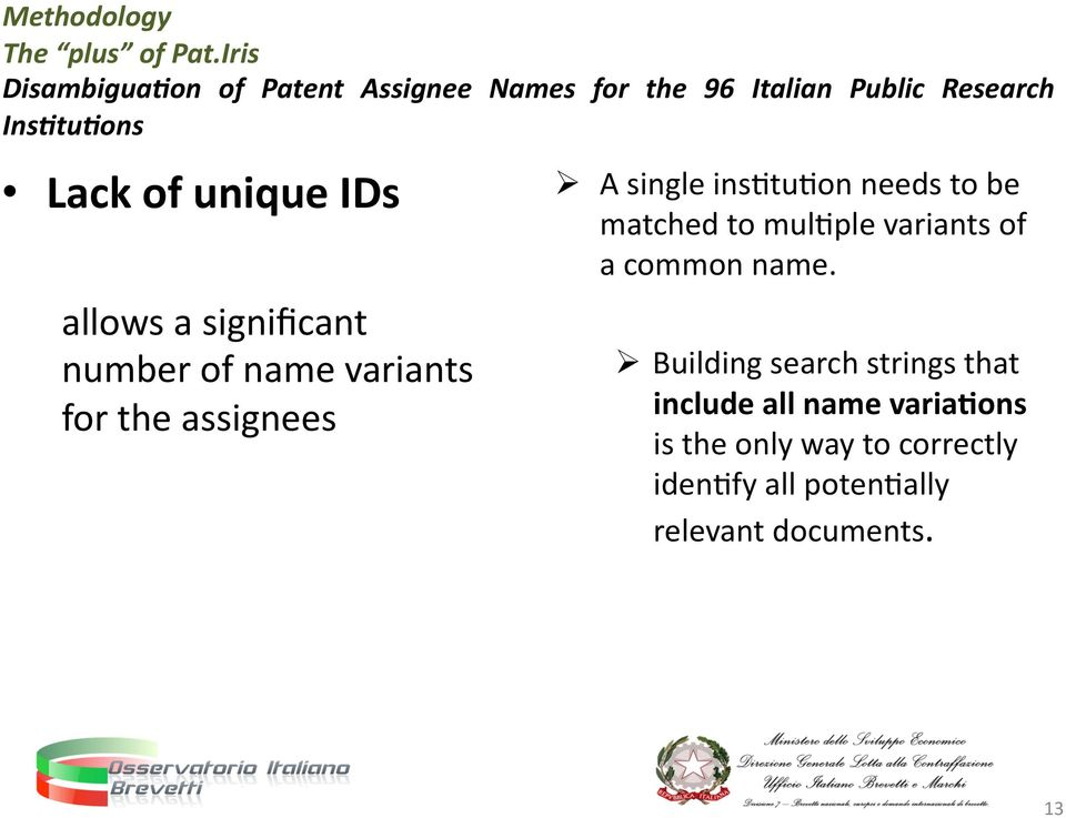 unique IDs allows a significant number of name variants for the assignees A single insntunon needs to
