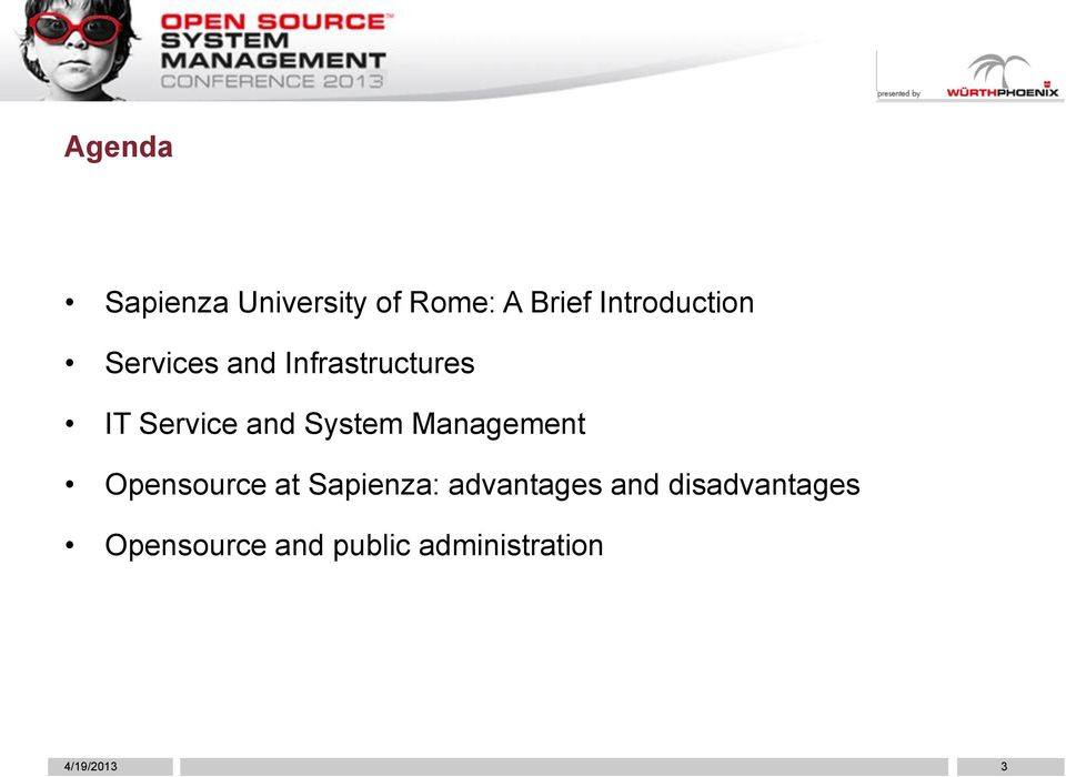 and System Management Opensource at Sapienza: