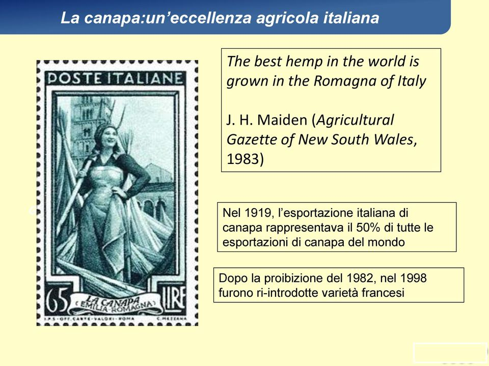 Maiden (Agricultural Gazette of New South Wales, 1983) Nel 1919, l esportazione italiana di