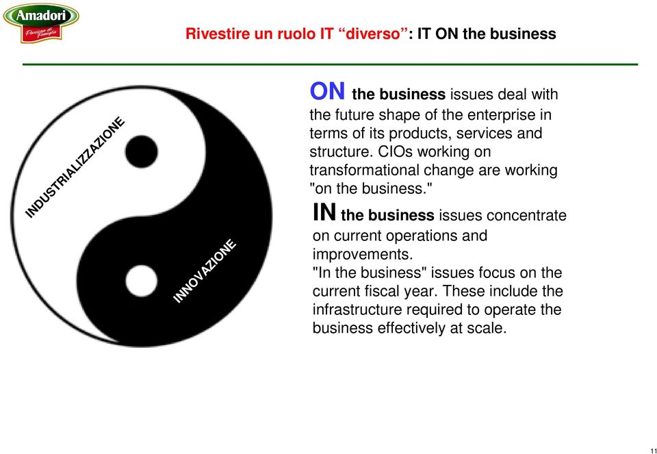 "CIOs working on transformational change are working ""on the business."