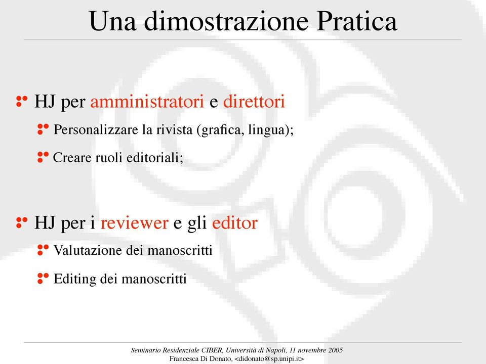 lingua); Creare ruoli editoriali; HJ per i reviewer
