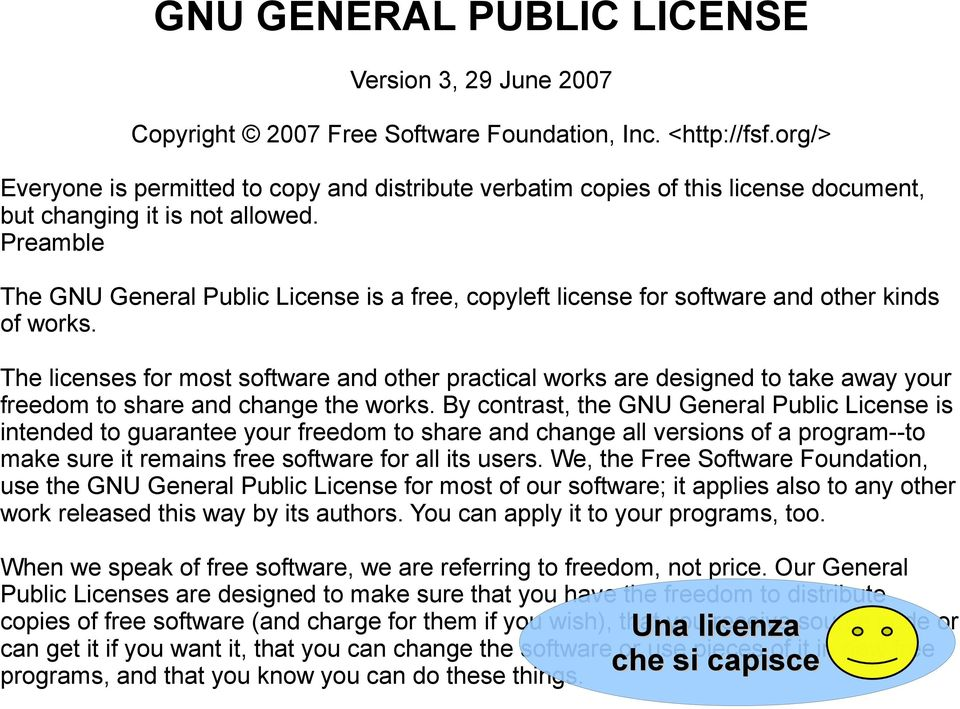 Preamble The GNU General Public License is a free, copyleft license for software and other kinds of works.