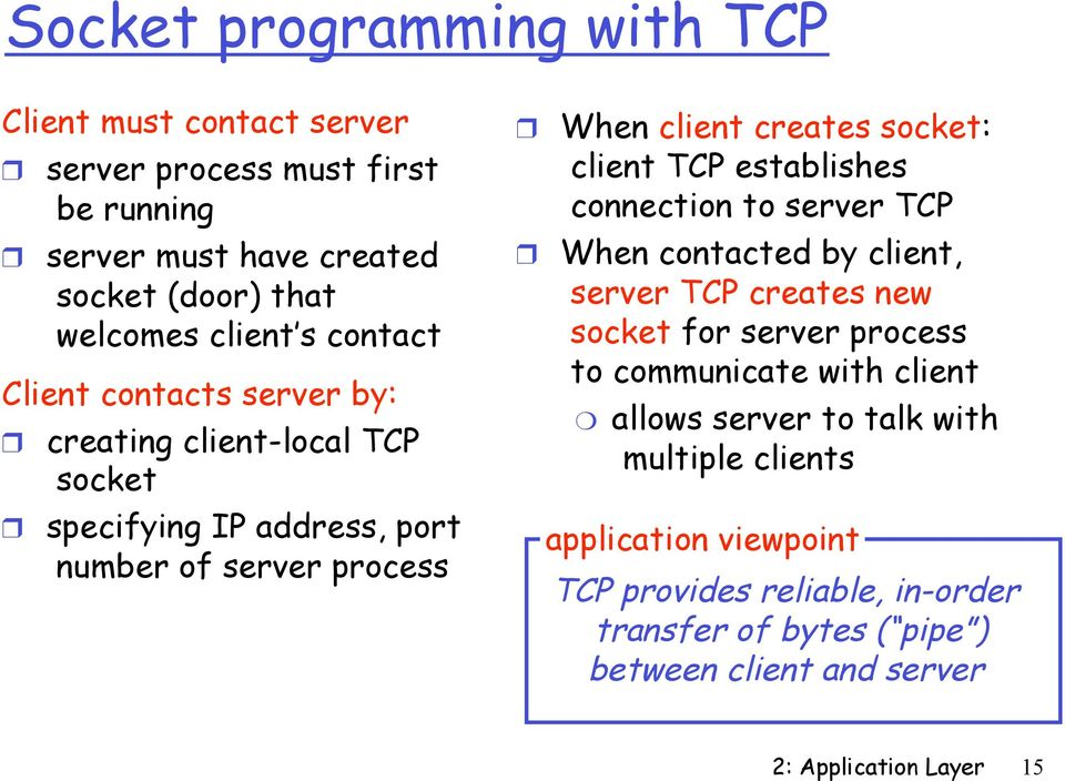 TCP establishes connection to server TCP When contacted by client, server TCP creates new socket for server process to communicate with client allows server