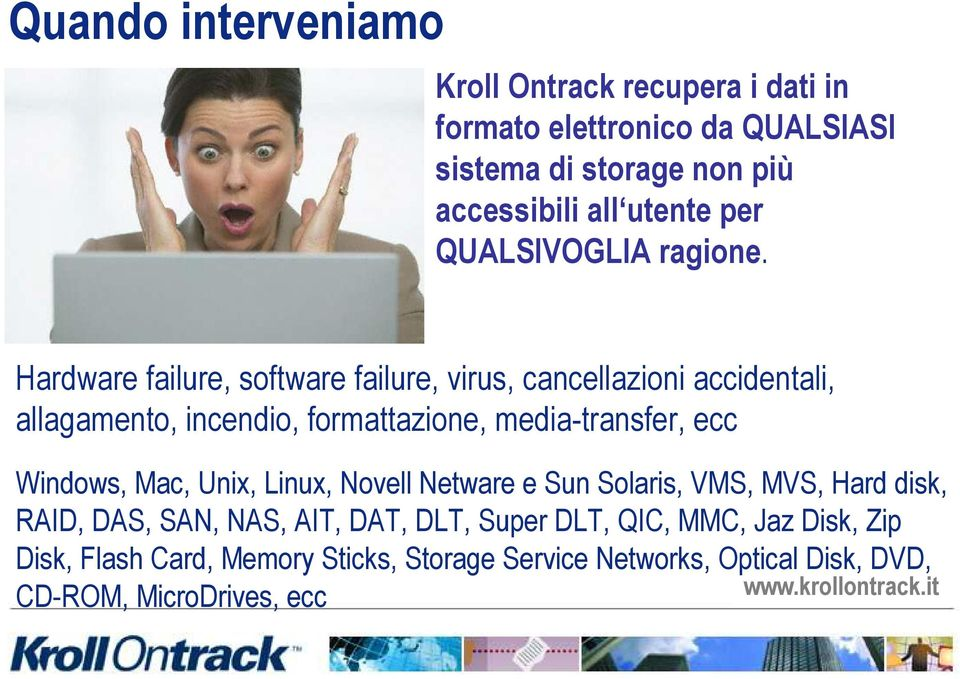 Hardware failure, software failure, virus, cancellazioni accidentali, allagamento, incendio, formattazione, media-transfer, ecc