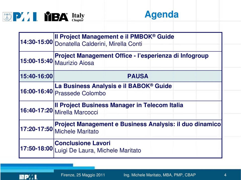 17:20-17:50 17:50-18:00 Il Project Business Manager in Telecom Italia Mirella Marcocci Project Management e Business Analysis: il duo