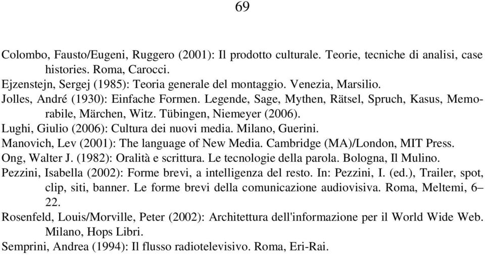 Lughi, Giulio (2006): Cultura dei nuovi media. Milano, Guerini. Manovich, Lev (2001): The language of New Media. Cambridge (MA)/London, MIT Press. Ong, Walter J. (1982): Oralità e scrittura.