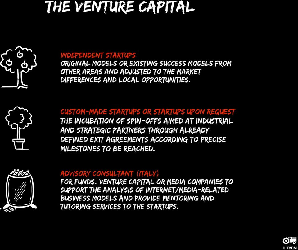Custom-made Startups or Startups upon request The incubation of spin-offs aimed at industrial and strategic partners through already defined