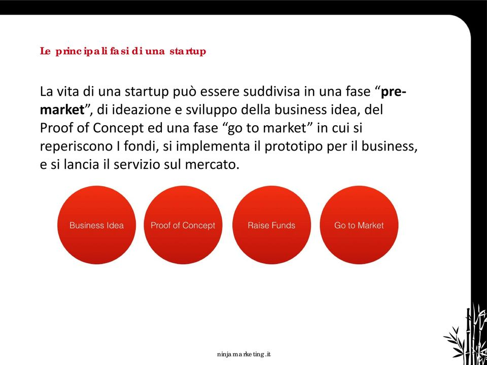 idea, del Proof of Concept ed una fase go to market in cui si reperiscono I