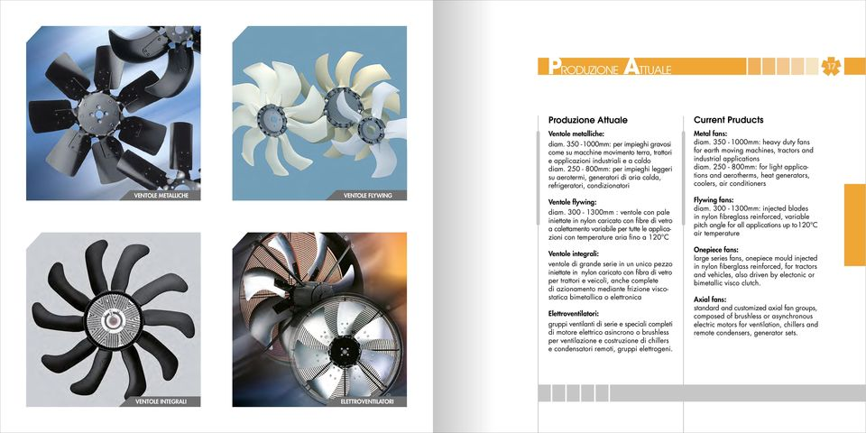 350-1000mm: heavy duty fans for earth moving machines, tractors and industrial applications diam.