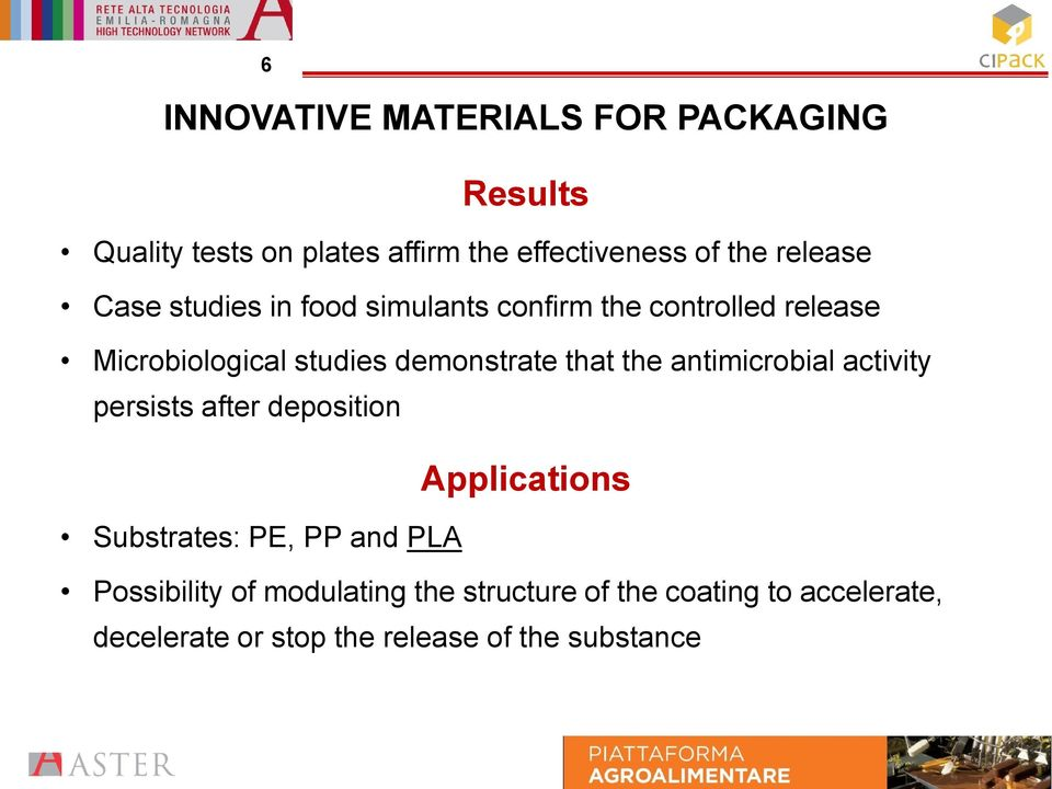 that the antimicrobial activity persists after deposition Applications Substrates: PE, PP and PLA